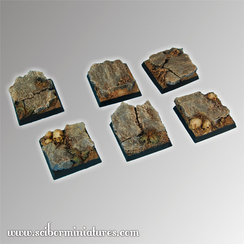 Rocky 25 mm square Bases (5)