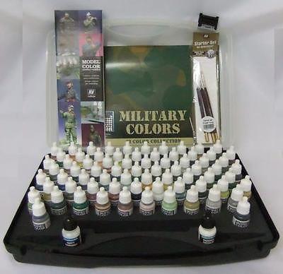 AV Vallejo Model Color Military Range Box Set (72 colours + 3 brushes + carry case)