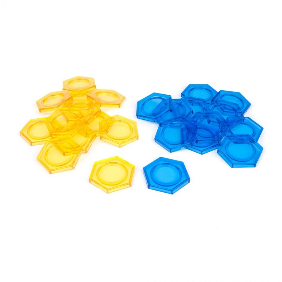 Dreadball Xtreme Hex Bases - Blue/Yellow