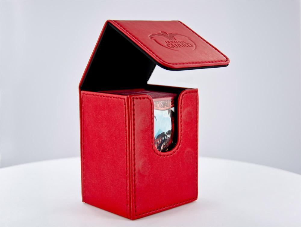 Flip Deck Case 80+ Standard Size Leatherette Red