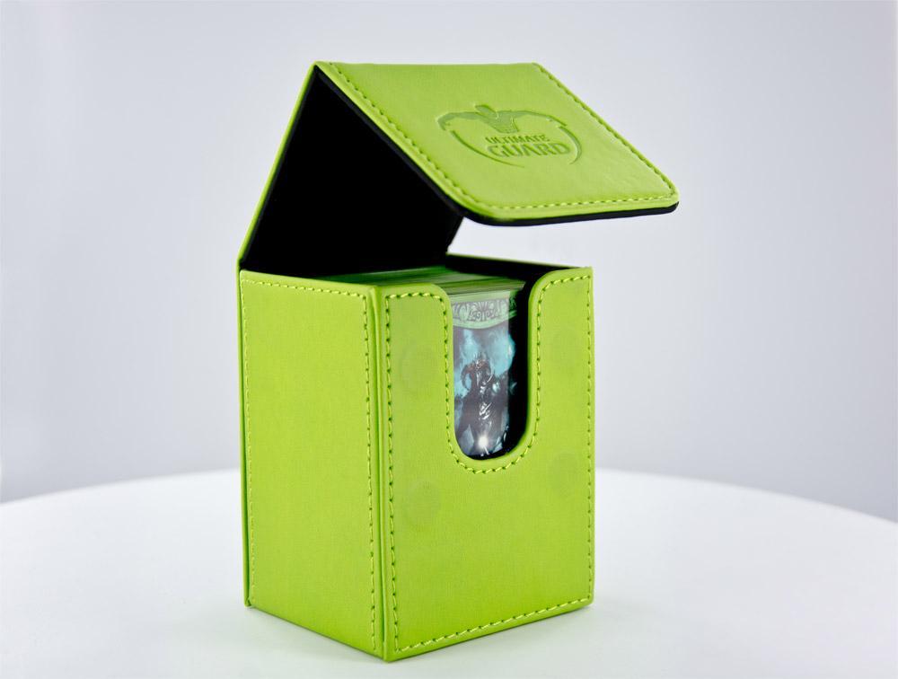 Flip Deck Case 80+ Standard Size Leatherette Green