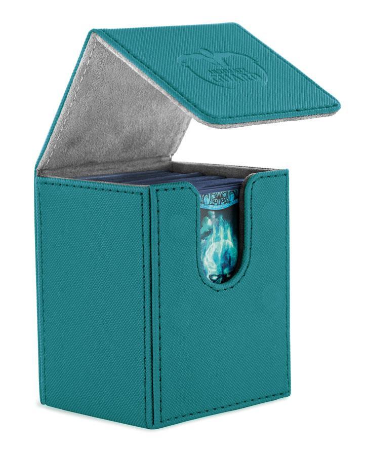 Flip Deck Case 100+ Standard Size Leatherette Petrol
