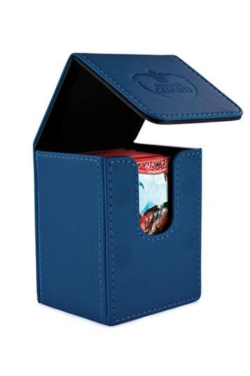 Flip Deck Case 100+ Standard Size Leatherette Dark Blue