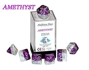 Halfsies Dice - Amethyst (Poly 7 set)