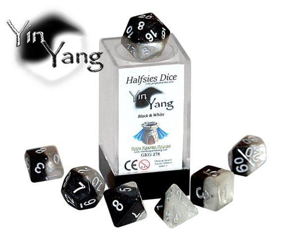 Halfsies Dice - Yin Yang (Poly 7 set)