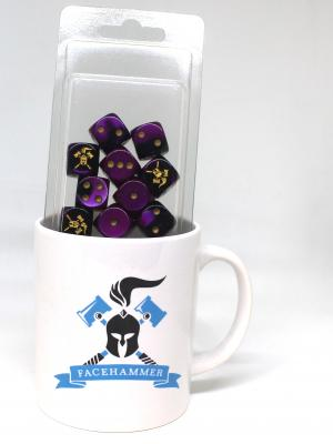 Facehammer Dice Gemini Purple Gold and Mug