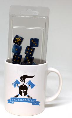Facehammer Dice Phantom Teal Gold and Mug