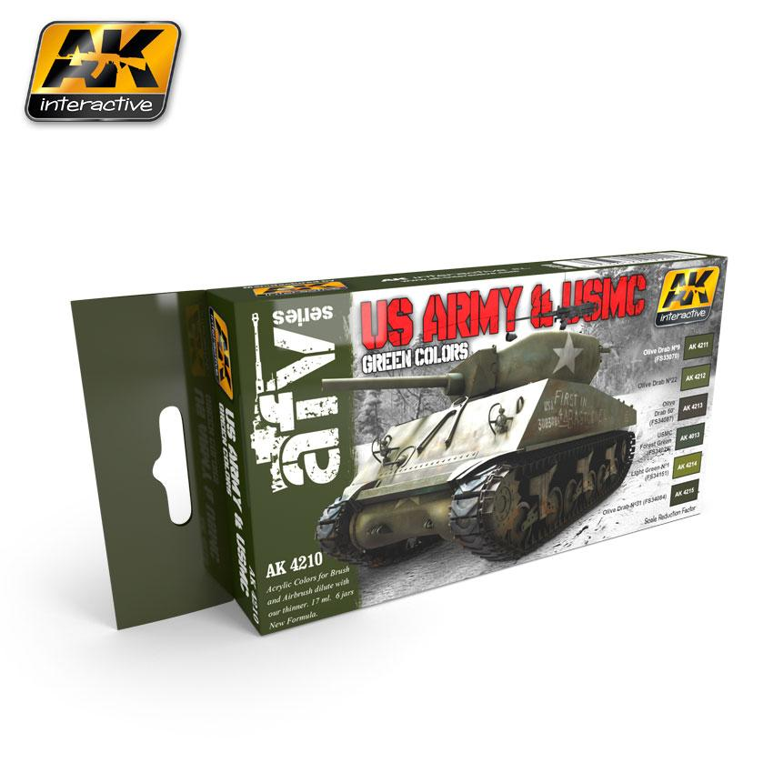 AK Interactive - US Army & USMC Green Colors Set