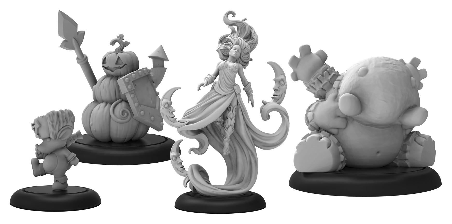 Grymkin Warlock Dreamer & 3 Phantasams (4)  inc resin