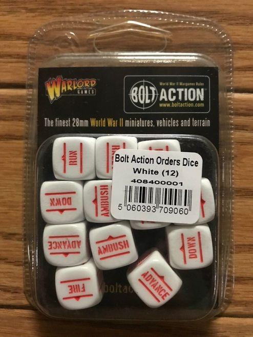 Bolt Action Orders Dice - White (12)
