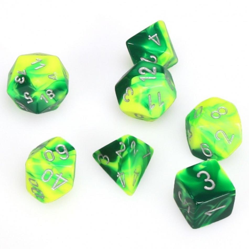 Gemini Poly 7 Set: Green-Yellow/Silver