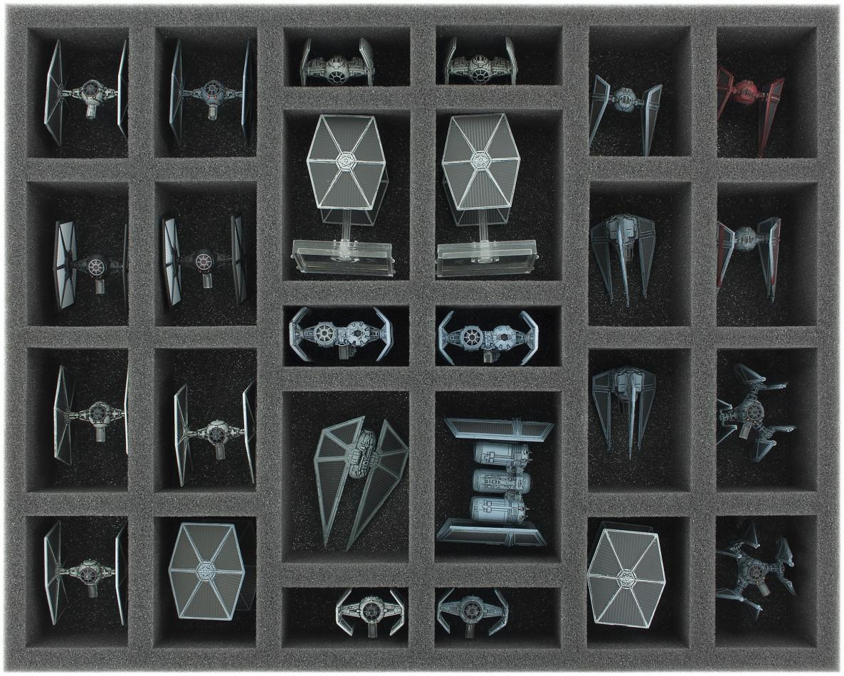FS050XW03 50 mm (1.96 inches) full-size Foam Tray for 26 Star Wars X-WING Starfighters