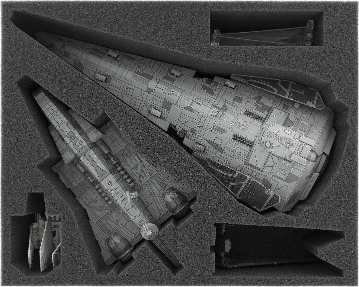 FSJT090BO 90 mm (3.54 inches) full-size foam tray for Star Wars X-WING Imperial Raider, Imperial Assault Carrier, Lambda-class Shuttle and Upsilon-class Shuttle