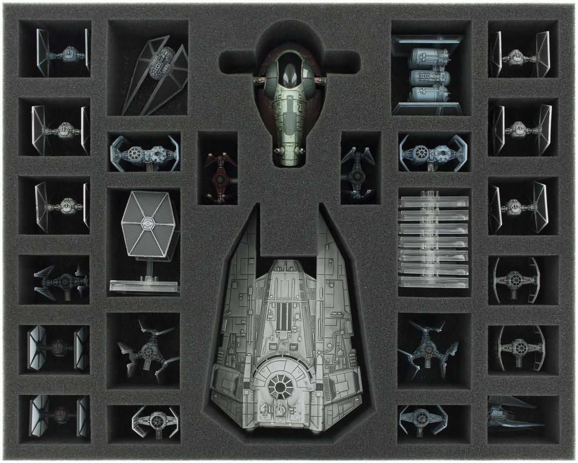 FSJU050BO 50 mm (2 inches) full-size foam tray for Star Wars X-WING: Decimator, Slave 1 and Tie Fighter