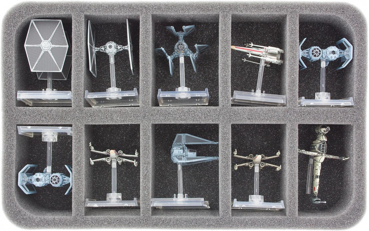HSBE050BO foam tray for 10 Star Wars X-WING Star Ships with base