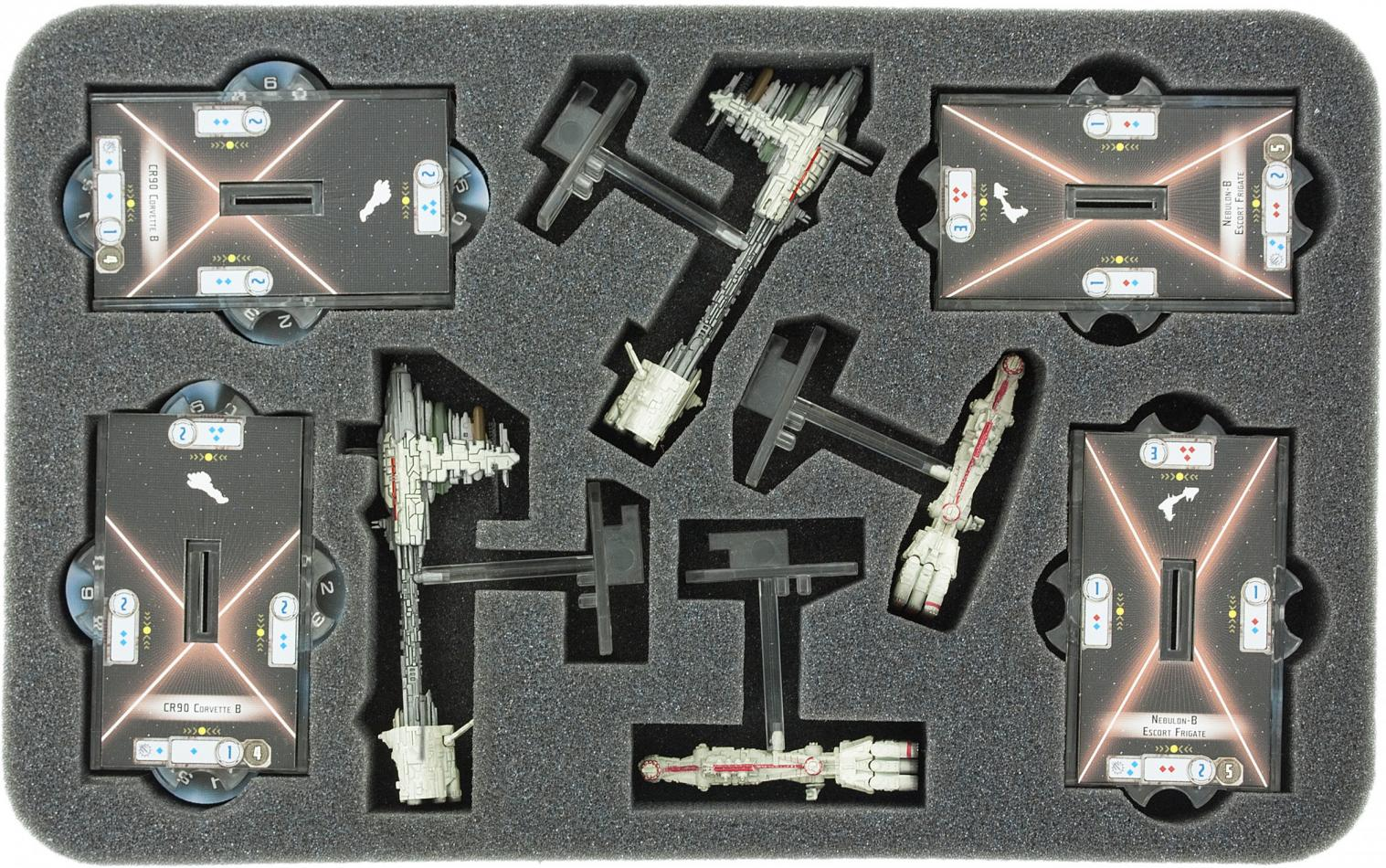 HSBX030BO foam tray for Star Wars Armada CR90 Corvette and Nebulon-B Frigate