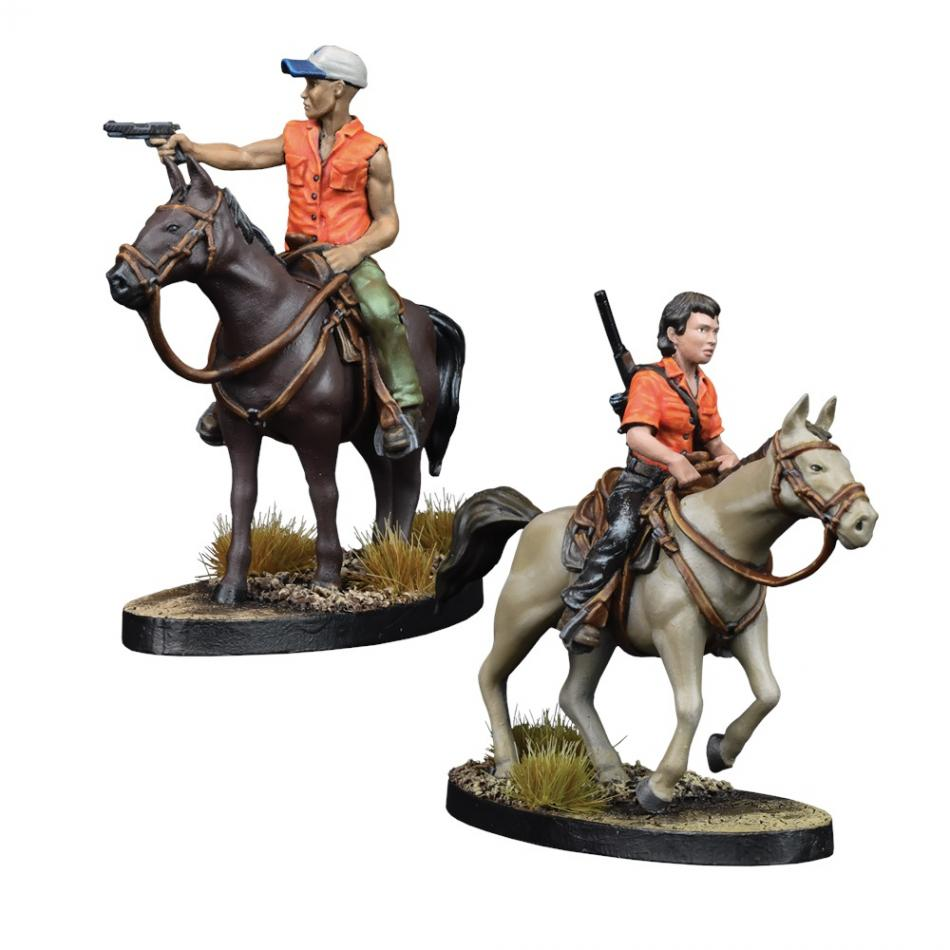 Maggie and Glenn on Horseback: The Walking Dead All Out War Miniatures Game Exp.