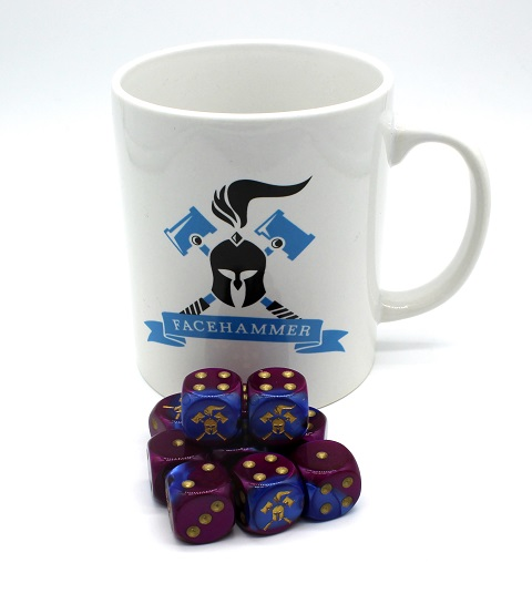 Facehammer Dice Blue-Purple/Gold and Mug