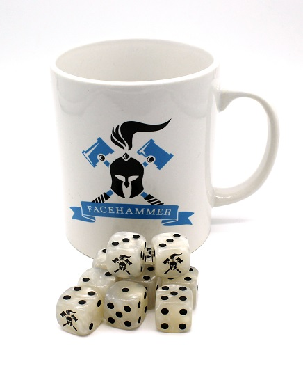 Facehammer Dice White Pearl and Mug