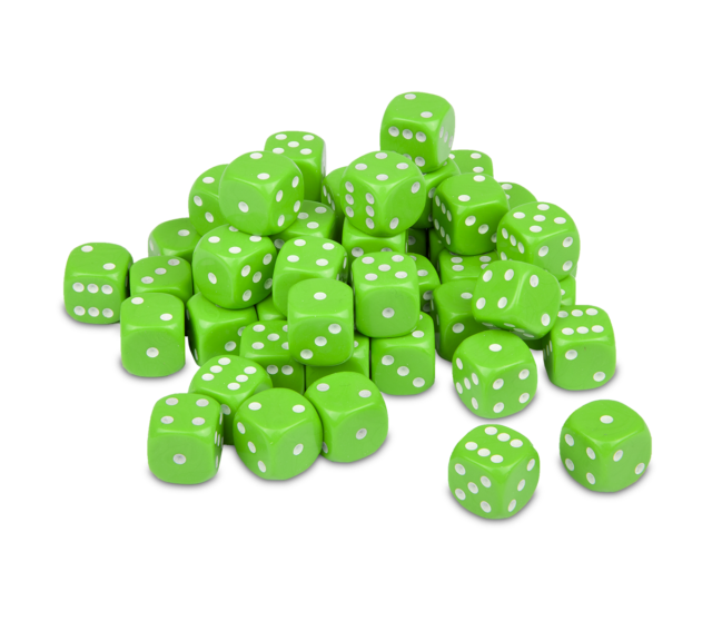 Lime Green Dice x20 12mm
