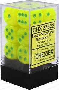 16mm d6 Dice Block: Vortex� Electric Yellow� w/green