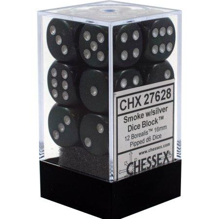 16mm d6 Dice Block: Borealis™  Smoke/silver