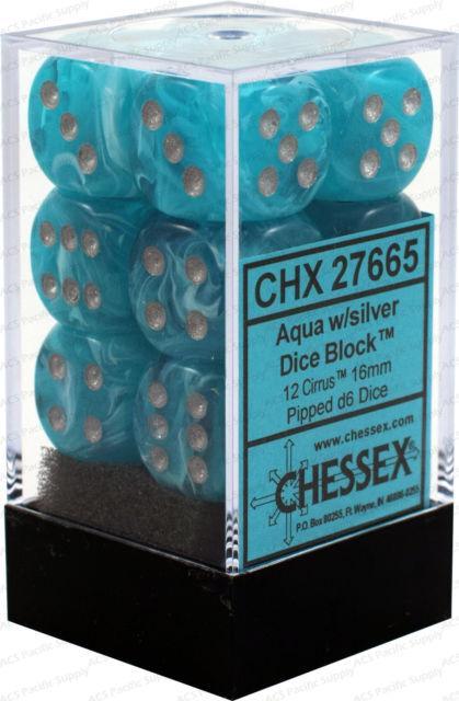 16mm d6 Dice Block: Cirrus™ Aqua/silver