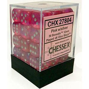 12mm d6 Dice Block: Borealis™  Pink/silver