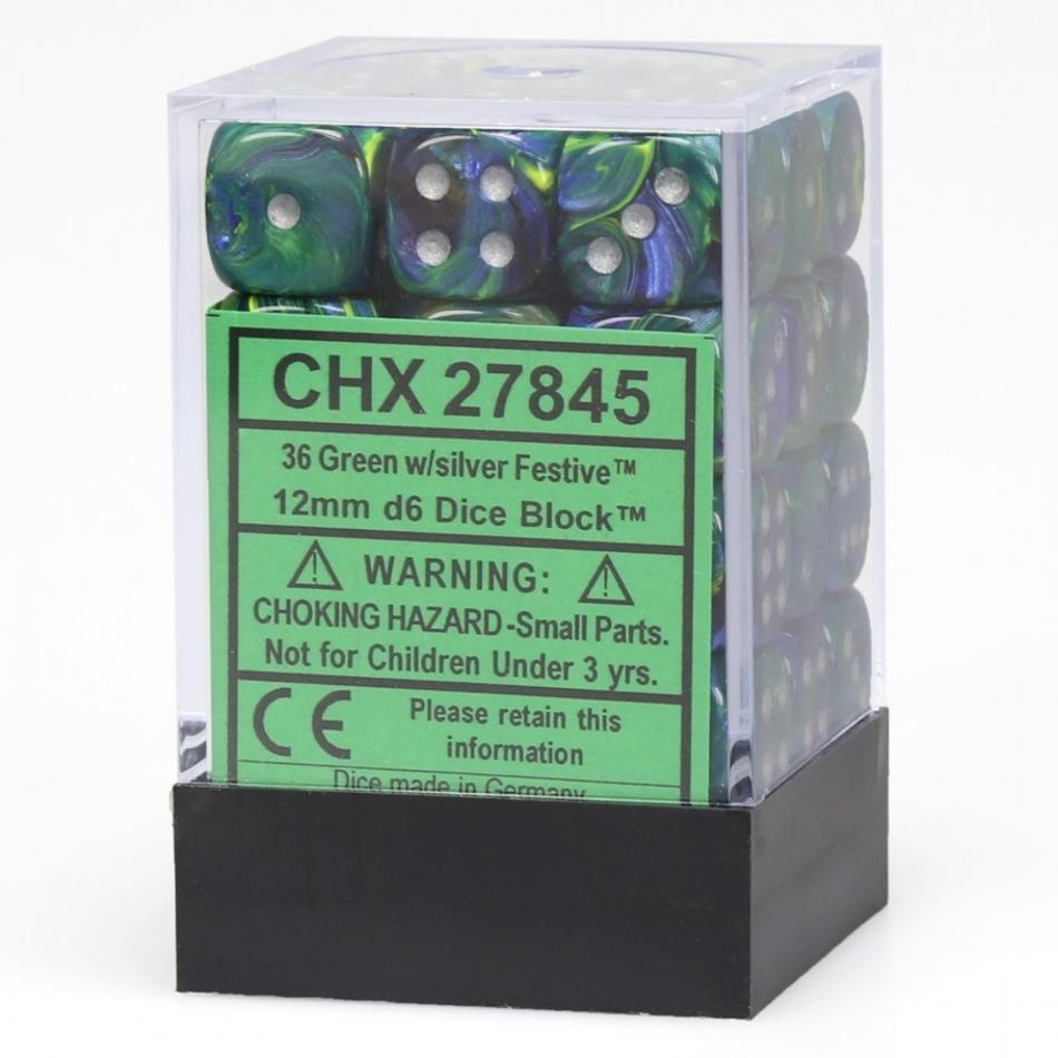 12mm d6 Dice Block: Festive™ Green/silver