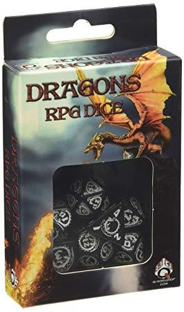 Q-Workshop Dragon Black & White Dice Set