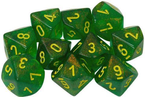 Ten d10 Sets: Borealis Maple Green/yellow