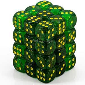 12mm d6 Dice Block: Borealis Maple Green/yellow