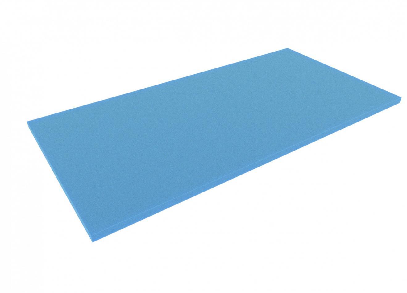 1000 mm x 500 mm x 20 mm foam sheet / cutting, blue