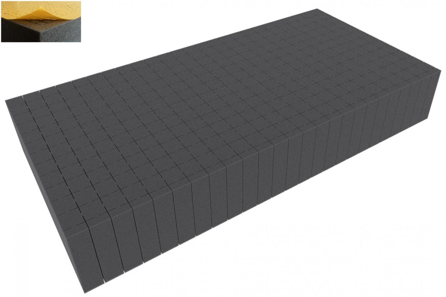 500 mm x 250 mm x 80 mm - Raster 20 mm - Pick and Pluck / Pre-Cubed foam tray self-adhesive