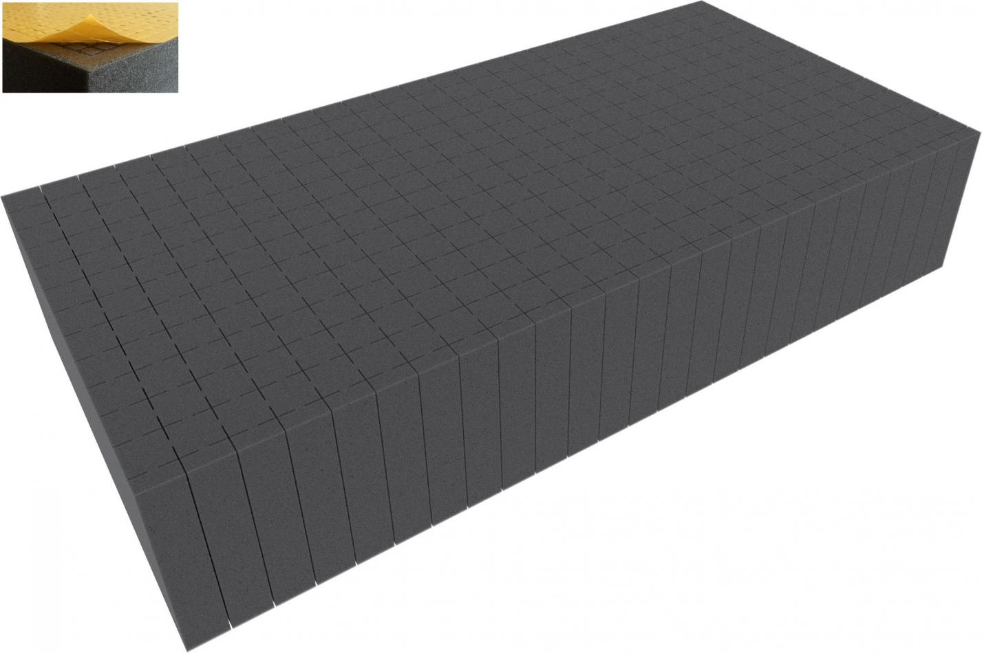 500 mm x 250 mm x 100 mm - Raster 20 mm - Pick and Pluck / Pre-Cubed foam tray self-adhesive