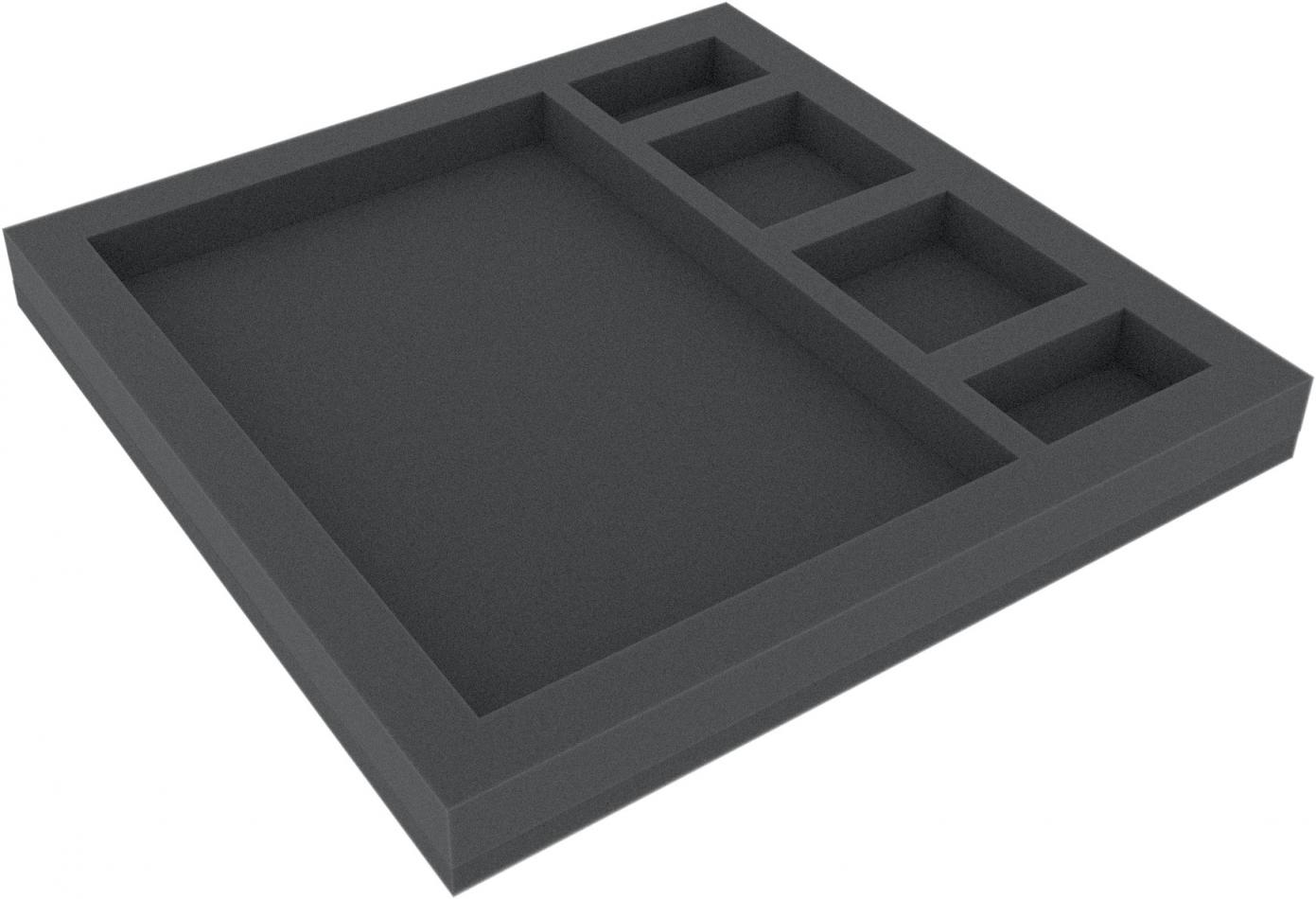 AFHW030BO 285 mm x 285 mm x 30 mm foam tray for board game boxes (5 slots)