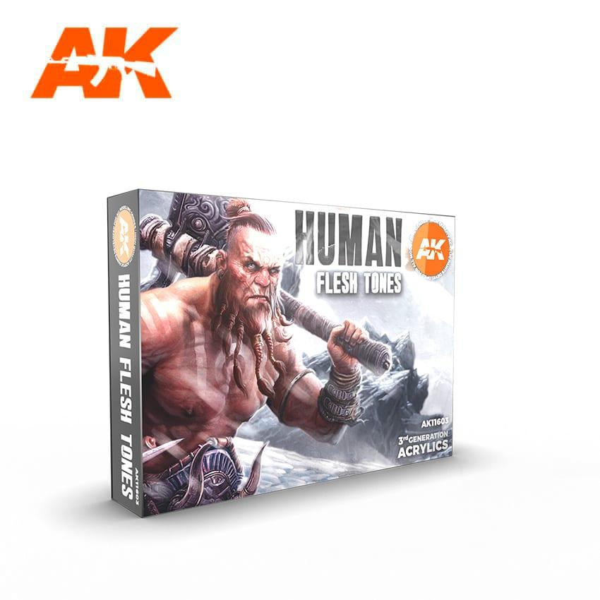 AK Acrylic Set - HUMAN FLESH TONES