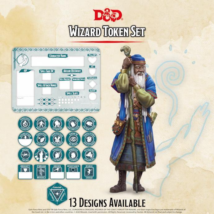 Wizard Token Set (Player Board & 22 tokens)