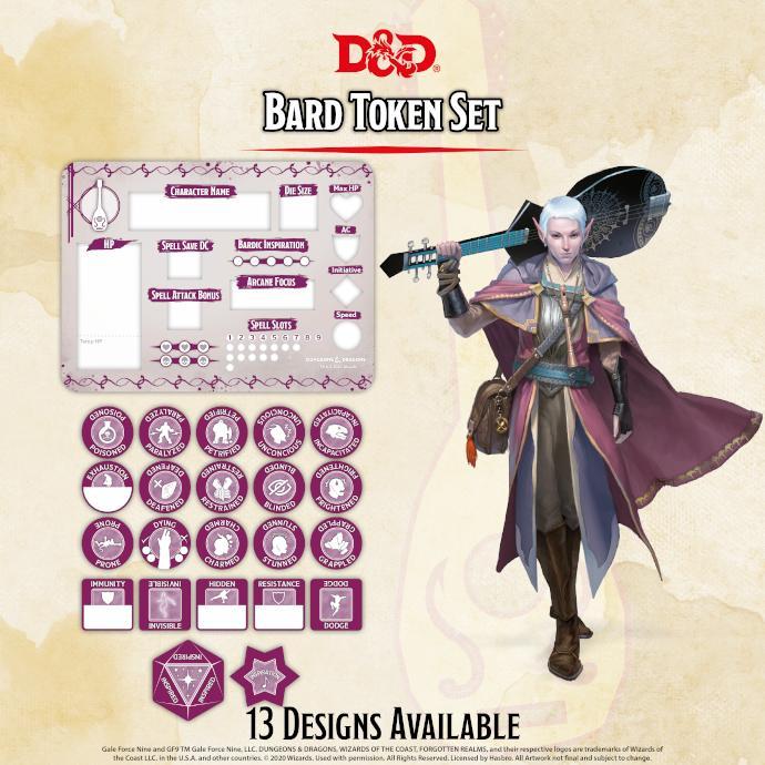 Bard Token Set (Player Board & 22 tokens)