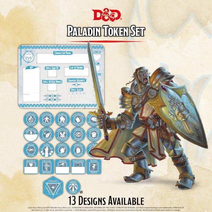 Paladin Token Set (Player Board & 27 tokens)