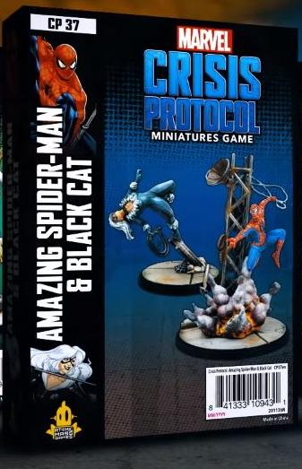 Spider-man and Black Cat Marvel Crisis Protocol Miniatures Game