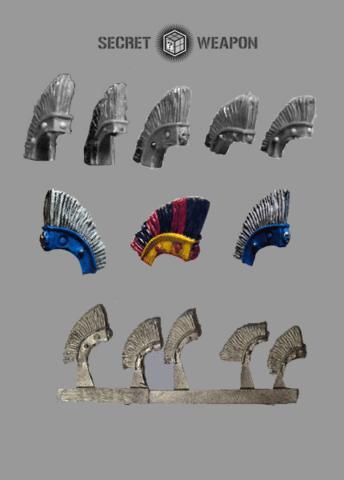 (5) Large Roman Style Helmet Crests